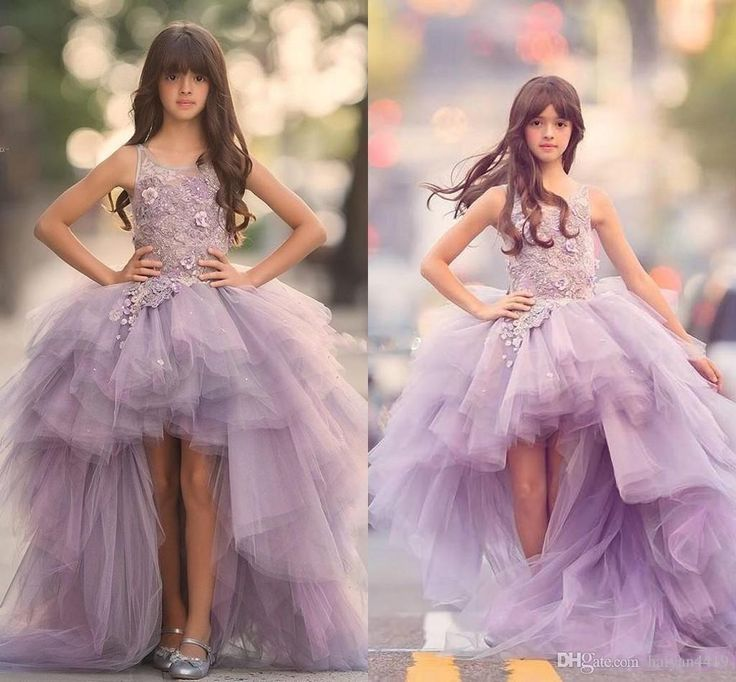 New 2017 Girls Pageant Dresses Princess Tulle High Low Length Lace Appliques Lilac Kids Flower Girls Dress Ball Gown Cheap Birthday Gowns Little Girls Pageant Dresses Pageant Dresses Girls Pageant Gowns Online with 112.0/Piece on Haiyan4419's Store | DHgate.com