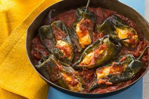 These chiles rellenos are baked with cream cheese, cheddar cheese and a blend of shredded Colby and Monterey Jack cheeses.