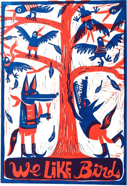 Ludwick Hernandez (France) - We like birds. Linogravure [Tumblr Monday with valerieoualid]