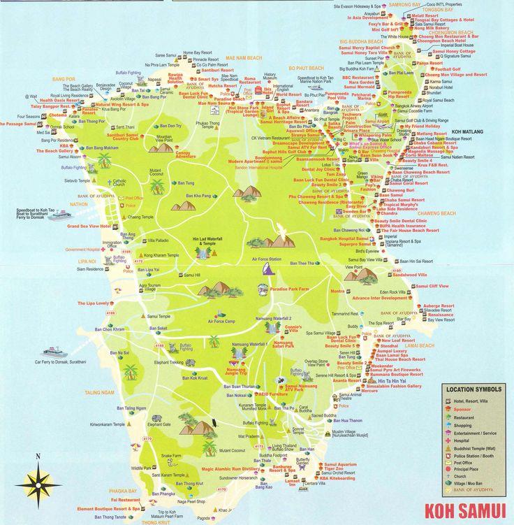 большая карта острова Самуи в Таиланде