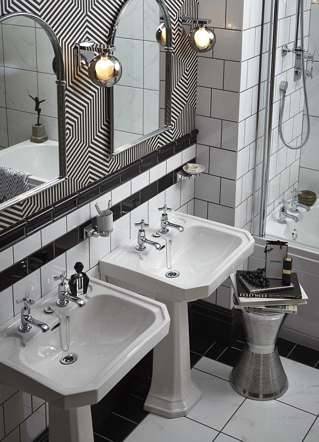 Stripey sensation: The Twenties-inspired Granley range by Heritage Bathrooms provides a bo...