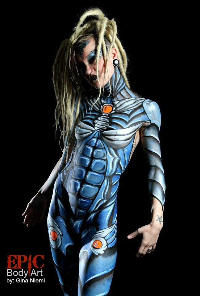 One Line Body Art : Robot body painting art face done by