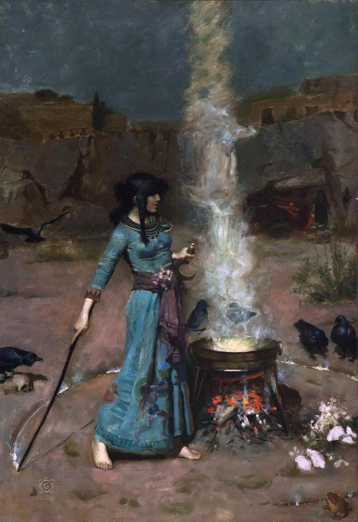 "Джон Уильям Уотерхаус ""Магический круг"" 1886 г. John William Waterhouse ""Magic Circle"""
