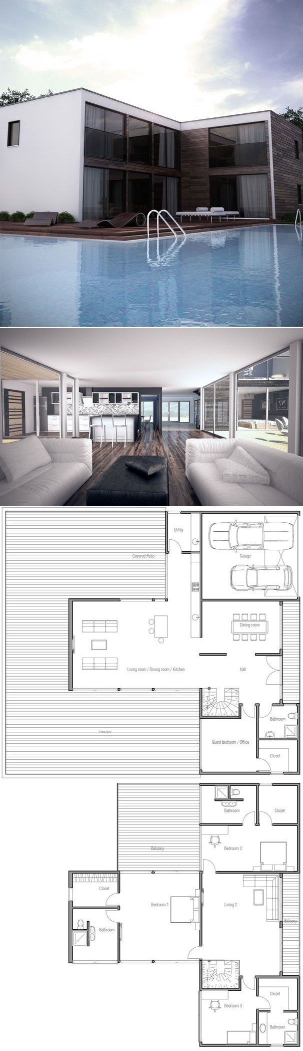 House Plan, Modern Architecture, Floor Plan from ConceptHome.com