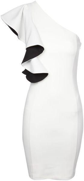 Jane Norman One Shoulder Monochrome Ruffle Dress