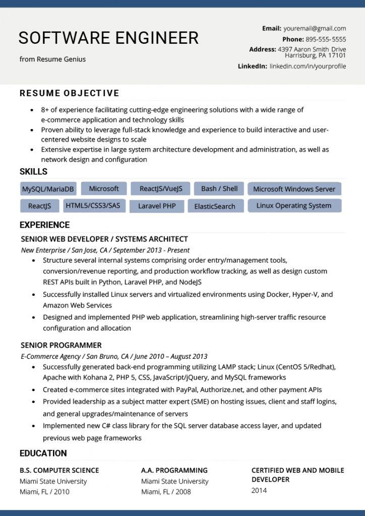 Resume for software engineer 2021 engineering resume