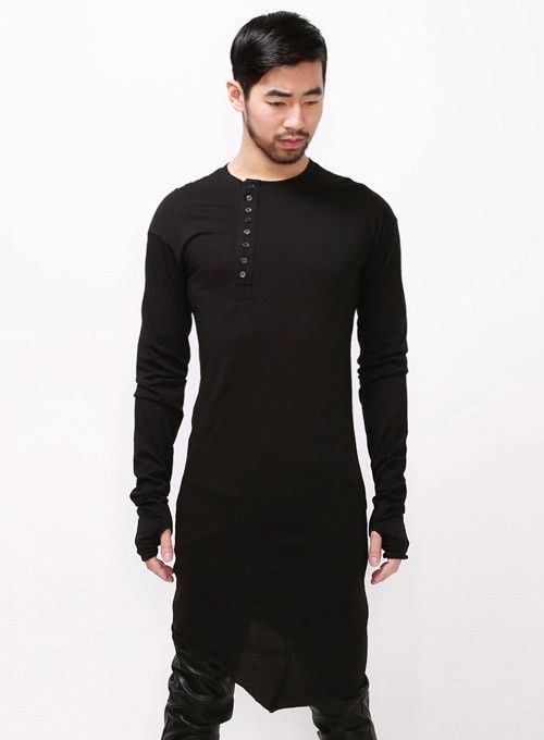 """Mens Vandals Extended Henley Neck Long Seam T Shirt whit Arm Warmer - 39"""" at Fabrixquare"""