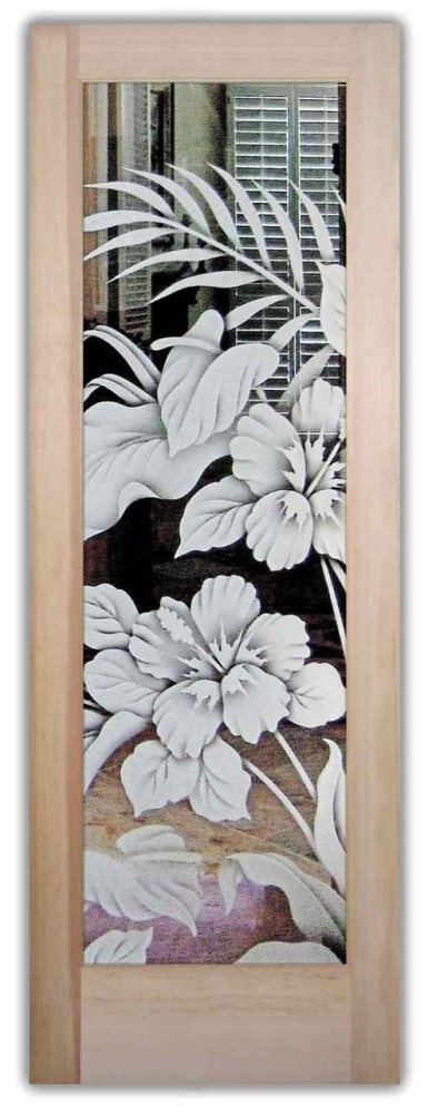 Hibiscus & Calla Lilies 2D Door - Glass Front Doors Etched Glass by Sans Soucie Art Glass.