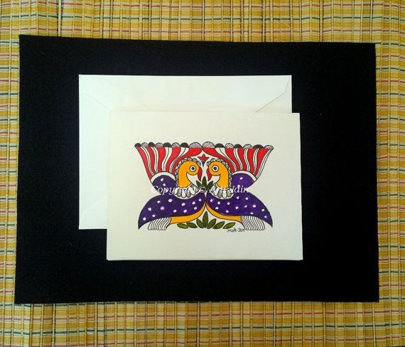 Set of 5 handmade Madhubani greeting cards/Cards for by ArtsyArti