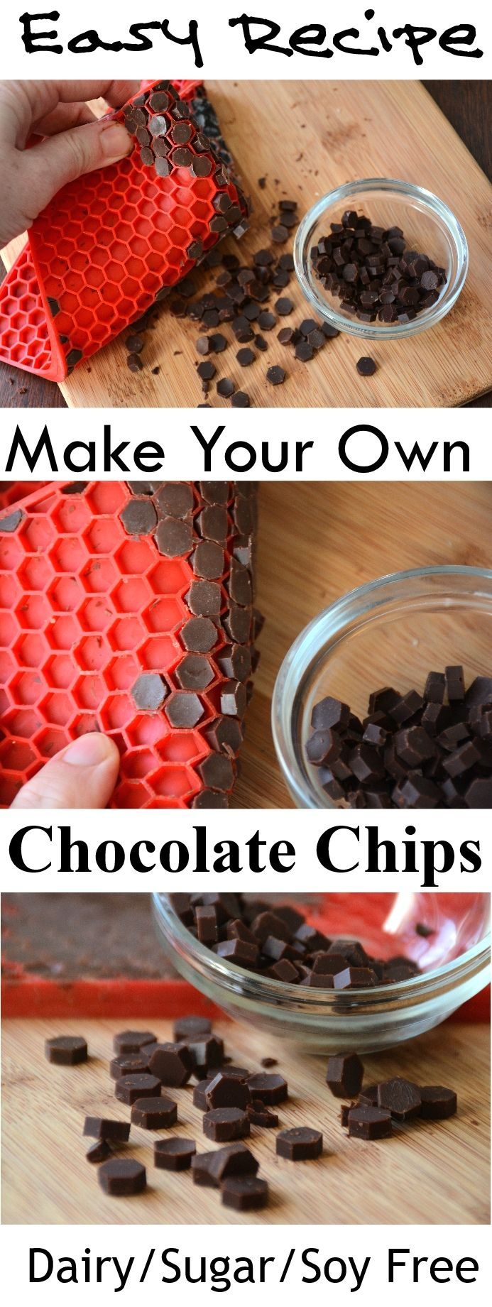 Make your own dairy-free, vegan, sugar-free chocolate chips! This recipe is so easy, and a fun one for kids to make!