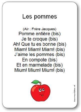 Paroles de la comptine Les pommes : Pomme entière, Je te croque, Ah! Que tu es bonne, Miam! Miam! Miam! J'aime les pommes, En compote, Et en marmelade...