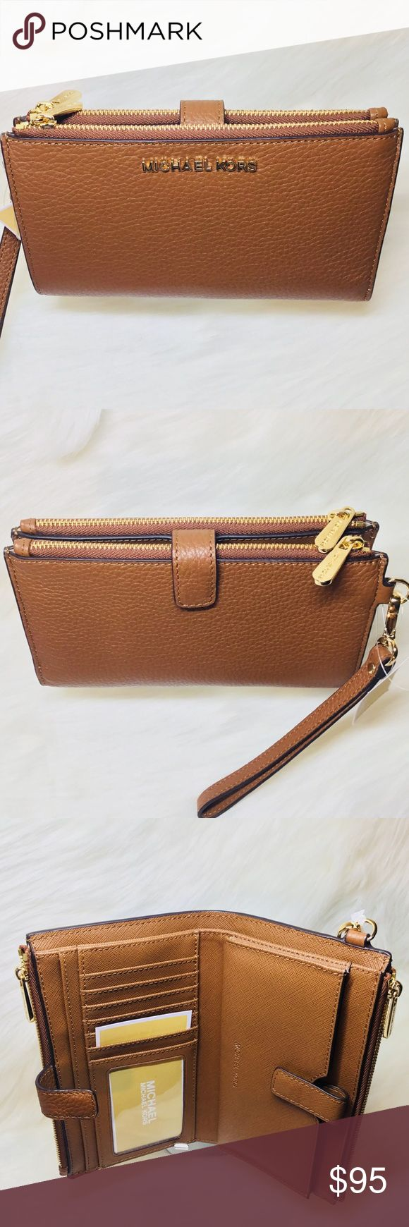 Michael Michael Kors Adele Double-Zip Oyster. From MICHAEL Michael Kors, the Adele wristlet features:small-pebble leathergold-tone hardware2 zip compartments; 1 snap compartmentphone pocket, 2 slit pockets, 6 card slots and ID window insideapprox. MICHAEL Michael Kors Bags Clutches & Wristlets