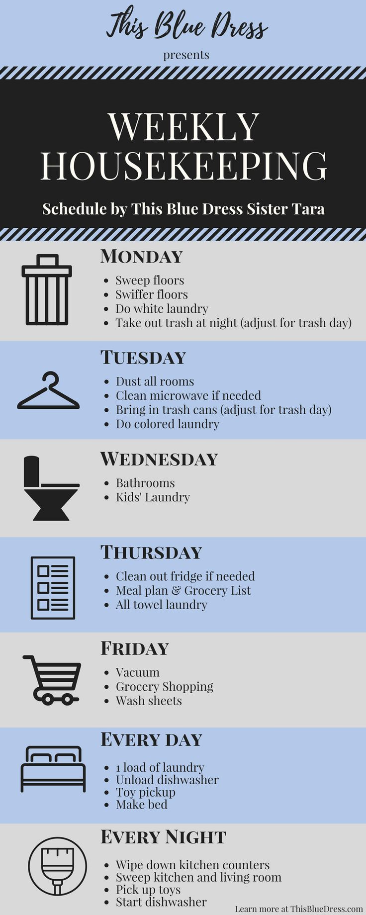 Weekly Housekeeping Schedule--A simple, effective way to keep your house and routines sparkling!