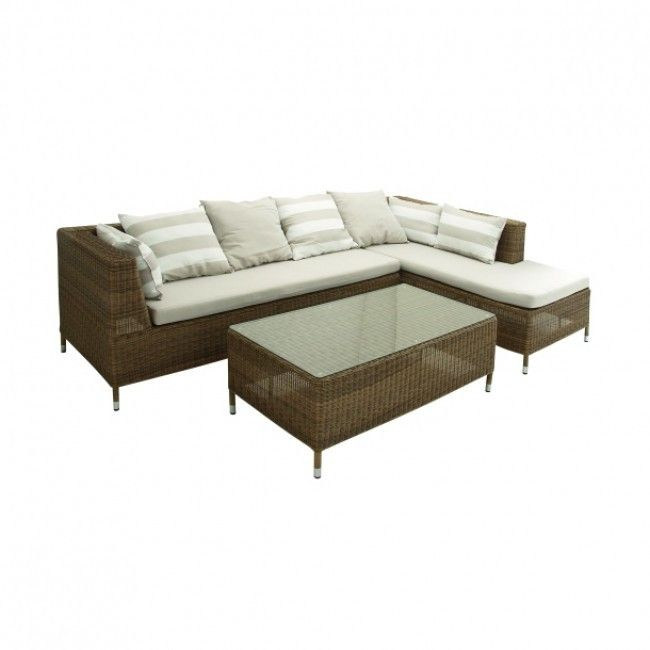Outdoor Wicker Sectional and Coffee Table Set