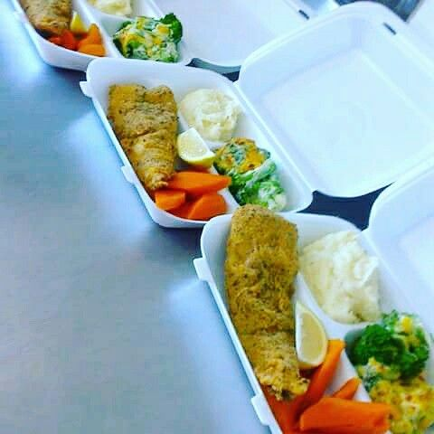 Lunch to go. Crumbed hake, creamy mash, glazed carrots and Cheesy baked brocolli.