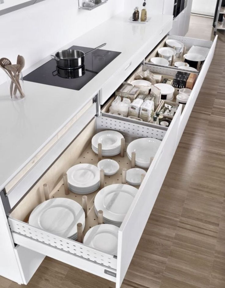 A super smart solution for using the corner space in a kitchen – kitchen corner drawers!