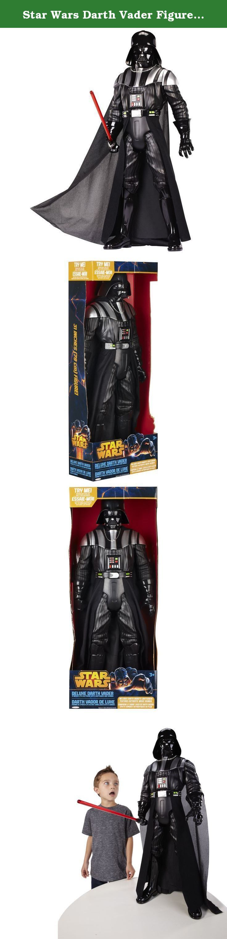 Star Wars Darth Vader Figure, Large. Press the green button and he speaks the famous Darth Vader phrases like `The force is strong with this one` and `You don't know the power of the dark side`. There are also other sounds from the movie.