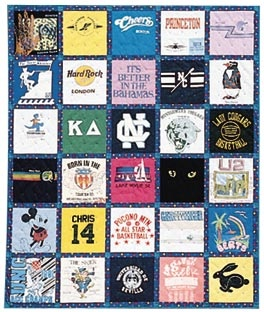 TShirt Quilt pattern, going to make me one.. now to figure out the sewing machine