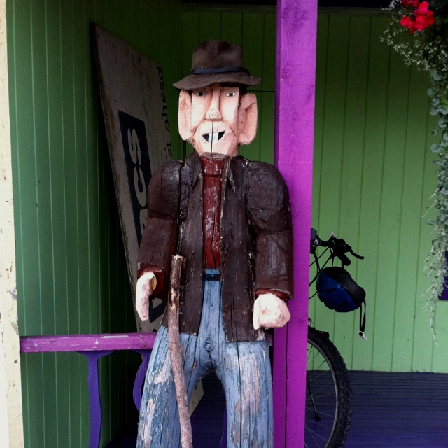 Folk art dude, Margaree. Cape Breton, NS.  He was hanging outside the store at Two Macs Gallery.  Love him!