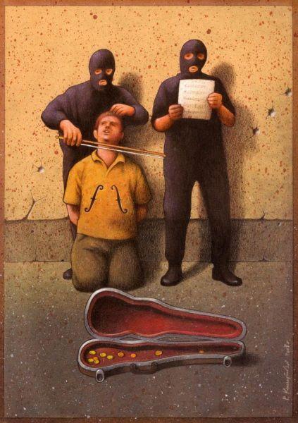 Un'altra enigmatica illustrazione. Forse è proprio una società senza volto e senza cuore che ci riduce in povertà costringendoci all'elemosina e minacciandoci di morte. Le ciniche illustrazioni di Pawel Kuczynski - Focus.it