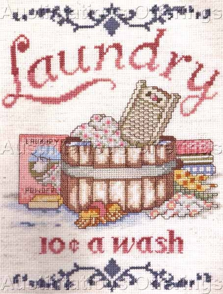 vintage laundry | Vintage Laundry Poster Cross Stitch Kit Washtub Nancy Bombard