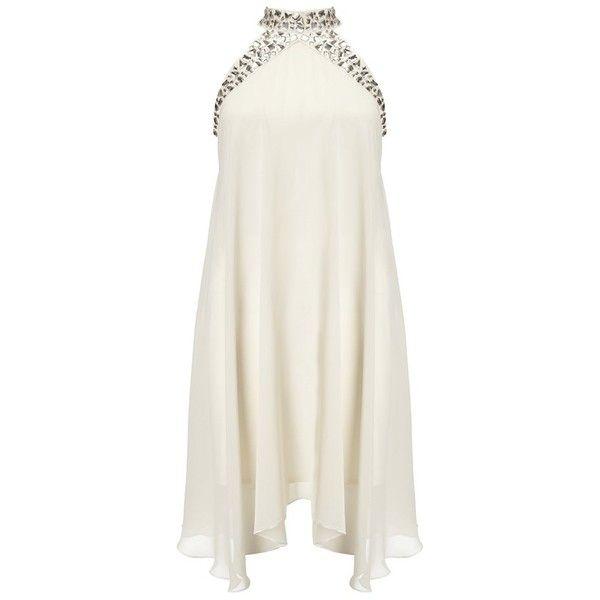Lipsy Halter Jewel Detail Chiffon Dress ($92) ❤ liked on Polyvore featuring dresses, vestidos, short dresses, white, white chiffon dress, white dress, halter top, embellished dresses and sleeveless chiffon dress