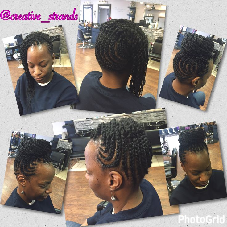 Two styles in one! Cornrows and two strand/Senegalese twists. Wear in a bun or hanging on the side
