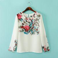 Tapas de diseño de la marca delgado elegante impresión floral blusas blancas ST2391 nuevas señoras de la vendimia O cuello de manga larga camiseta OL casuales
