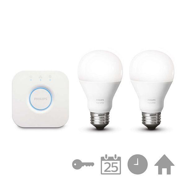Starter kit Philips Hue, 2 becuri LED, 9.5W, E27, bridge wireless http://www.etbm.ro/philips-hue---connected-lighting
