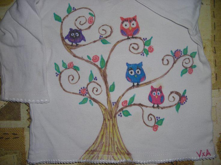 maglietta con macchie? ed io faccio un albero con gufetti! \ refashion soiled t-shirt \ remera con manchas? y yo dibujo arbol y buhos