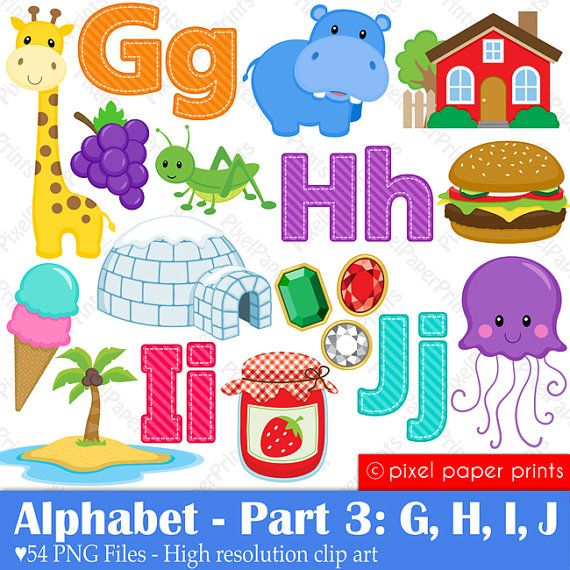Alphabet Clipart  Part 3  ABC clip art  GHIJ  by pixelpaperprints, $5.25
