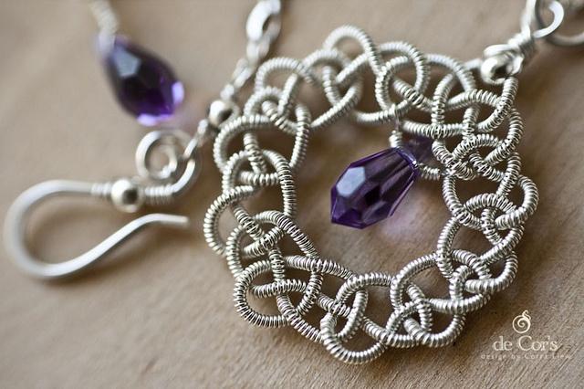 JiaSha Knot Necklace - Swarovski Tanzanite teardrop beads and New Figaro Chain