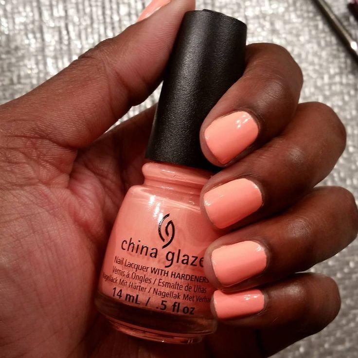 "China Glaze ""Flip Flop Fantasy"" On Dark Skin. Peach Nail"