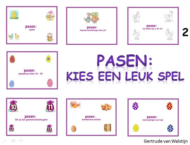 Digibordles Pasen: 7 verschillende spelletjes voor groep 2. http://leermiddel.digischool.nl/po/leermiddel/067ba8ca435fbd3a74d0e63705f5adb2