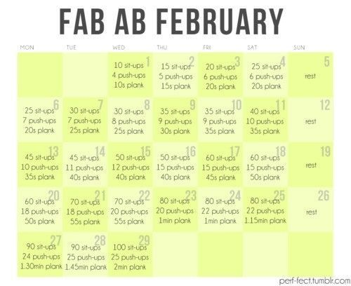 30 day ab challenge... Even though there are only 28 days in February. Hmm...