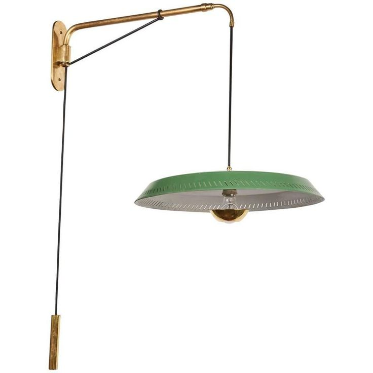 ($3950) Telescoping Stilnovo Adjustable Wall Lamp with Green Perforated Metal Shade 1