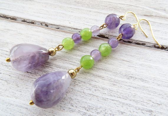 Amethyst earrings green quartz earrings dangle by Sofiasbijoux