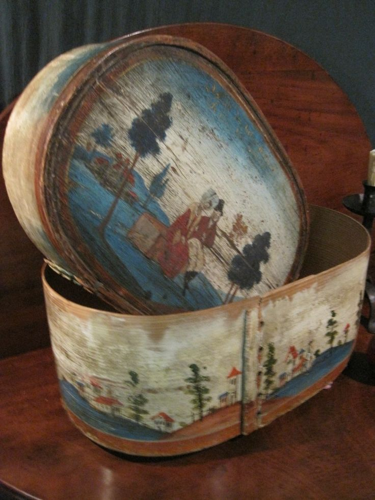 Antique 1700 Early RARE Folk Art Best Colors Wooded Painted German Bride's Box ...~♥~