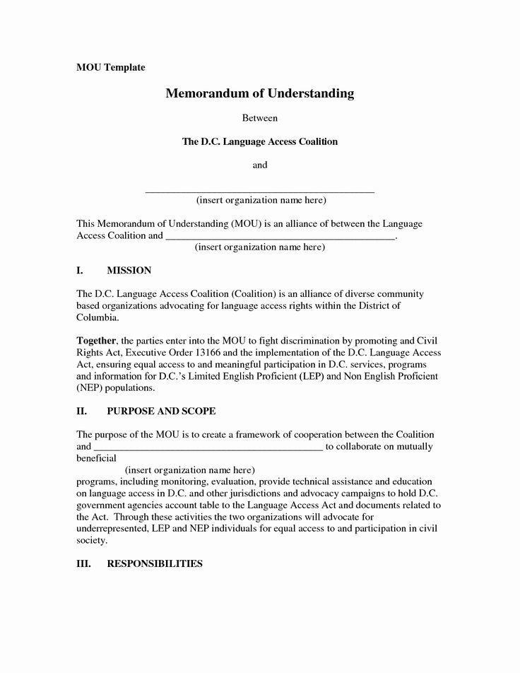 Memorandum Of Agreement Samples Unique 10 Best Of Example