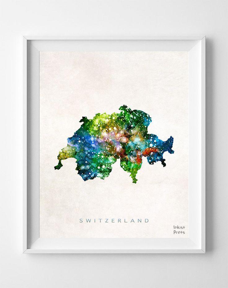 Switzerland Watercolor Map Print
