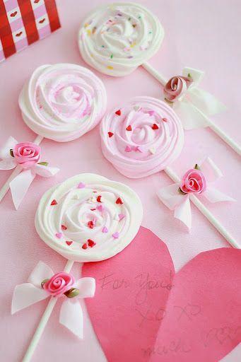 meringue rose lollipops