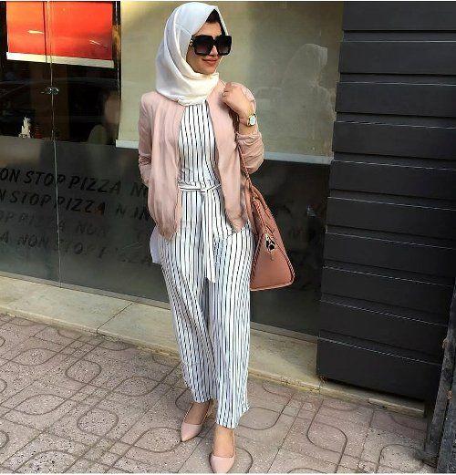 208b61b8c777 striped jumpsuit hijab-Ideas for everyday casual hijab – Just Trendy Girls