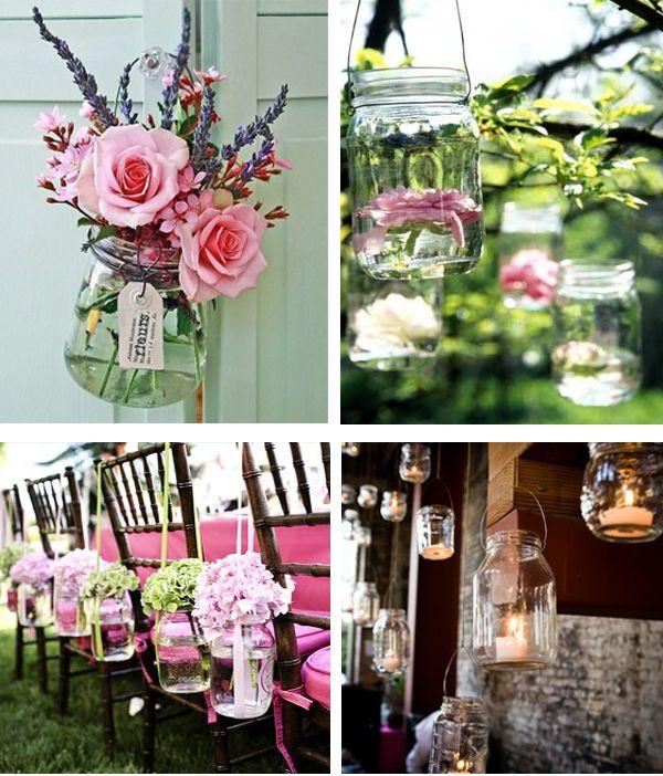 Mason jars wedding ideasOutdoor Wedding, Decor Ideas, Masons, Wedding Ideas, Parties, Mason Jar Weddings, Jars Ideas, Mason Jars Wedding, Flower