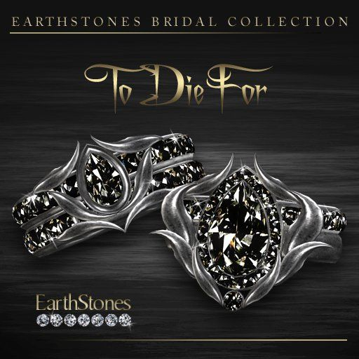 EarthStones Wedding Rings - To Die For - 12 Gemstone Combinations -Polished Pewter (BOX)