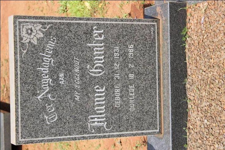 GUNTER Manie 1931-1986 Kwazulu-Natal, VRYHEID, Main cemetery