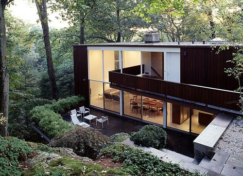 Glass House in New Canaan, CT, originally designed by architect Willis Mills