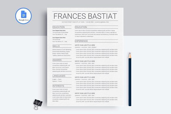Google Docs Resume Template Resume Template Resume Design Template Cv Resume Template
