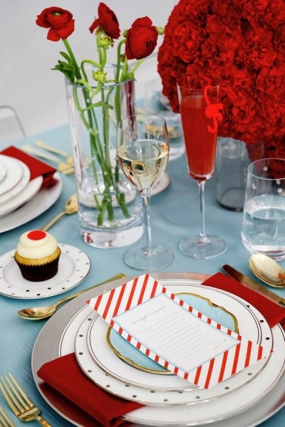 Red table setting with soft blue touches