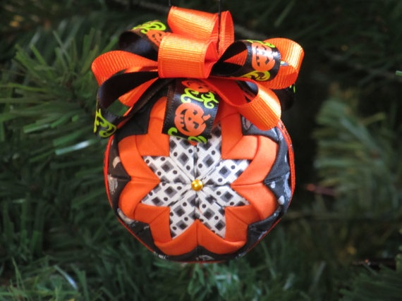 quilted no sew fabric halloween ornament ball by kcfabricornaments 1500 - Halloween Christmas Ornaments