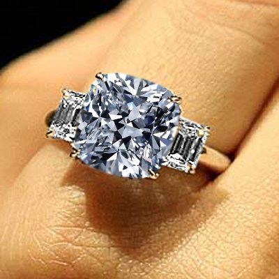 Looking For Cushion Cut Engagement Rings? Here's Cushion Cut Diamond Information For You!: 1.80 Total Carat Cushion, Round & Baguette Cut Diamond Three-Stone Engagement Ring in 18k Gold 1.00 Carat GIA Certified Center Diamond